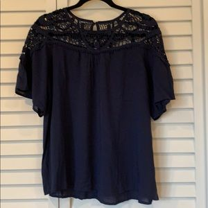 NWT Golden Tote Navy Blouse with Crochet detail